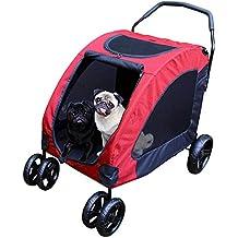 BELLE VOUS Cochecito Perro - 4 Ruedas Giro 360 Grados Rojo Carrito Perros/Gatos - 106 cm x 104 cm x 65 cm - Capacidad de Carga 15-45 kg - Frenos de ...