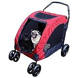 Hundebuggy in rot - Hundewagen - Haustier Buggy - Hundekinderwagen- Buggy für Hunde und Katzen - 4 Räder, 360 Grad drehbar, 15-45 kg Gewicht - mit Sicherheitsbremsen, Netzfenstern und Taschen