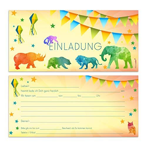 15 Zoo Einladungskarten I dv_094 I DIN lang (210 x 99 mm) I Einladung Set Kinder-Geburtstag zum Ausfüllen