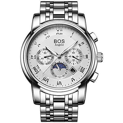 A prueba de agua de la muñeca de los hombres de la BOS ángela cronógrafo reloj blanco con pulsera de acero inoxidable pulsera 9011
