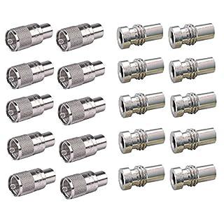 LOT OF 10 AMPHENOL PL-259 CONNECTORS (083-1SP-15RFX) W/ UG175 REDUCERS (083-185-RFX)