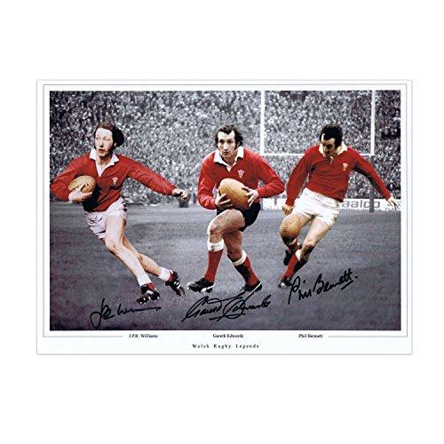 Exclusive Memorabilia - Fotografía de rugby galés (40 x 30 cm), firmada por Gareth Edwards, JPR Williams y Phil Bennett