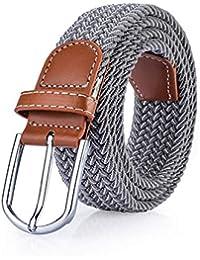 Availcx Cinturón de estiramiento elástico para hombre Lienzo masculino de  punto cruzado cinturón táctico militar Lujo Pin Hebilla… b731138e9c9e