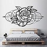 Haut de gamme Design Rose Fleur Stickers Muraux Décoration Chambre Géométrique Espace Design Sticker Salon Salon Papier Peint Murale Pourpre L 114x57cm