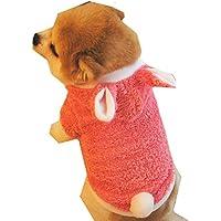 Sannysis mascotas ropa navidad mascotas ropa perros pequeños chihuahua perros ropa de invierno accesorios Sudadera con capucha Ropa de disfraces cálida Sombrero de conejo (S, Rosa)