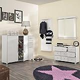 Garderoben Set PISA (weiß, 4-tlg) Wandspiegel mit Ablage, Flur Schubladen-Kommode, Schuhschrank / Schuhkommode