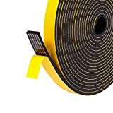 Türdichtung selbstklebend für Türen 12mm(B) x3mm(D) Schaumstoff Klebeband Fensterdichtung kochheld, Gummidichtung für Kollision Siegel Schalldämmung Gesamtlänge 15m (3 Rollen je 5m lang) schwarz