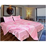 Rajasthan Crafts Silk Double Bedsheet With Pillow Covers And 1 AC Comforter(Pink, King Size) - Set Of 4