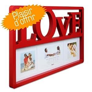 Cadre Multivues Love pour 2 photos 10x10 cm + 1 photo 10x15 cm