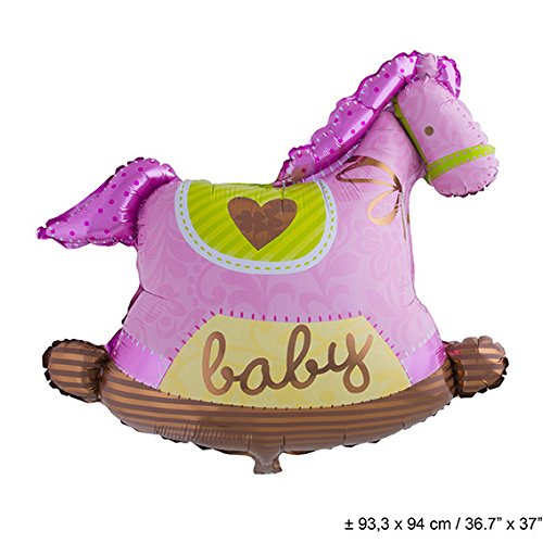 Folienballon rosa pink Schauckelpferd, Aufschrift: Baby 93cm X 94 cm rosa zur Geburt Mädchen