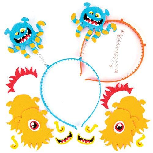 Kopfschmuck-Sets Weltraum-Monster für Kinder als Bastel- und Deko-Idee zum Gestalten für Jungen und Mädchen (4 Stück) - ideal zum Kindergeburtstag und Karneval