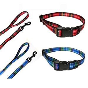 Ancol-Blue-Tartan-COLLAR-AND-LEAD-SET-Choose-Size