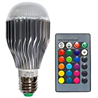 10W RGB LED Light Bulb, 10W RGB Color Changing 16 Colors Changing E26/E27 Dimmable LED Lamp with Remote Control for Home Decoration, Bar, Party, KTV Mood Ambiance Lighting