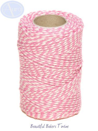 rose-pink-white-50m-roll-of-bakers-twine-100-cotton-free-shipping-by-aura-essential-oils