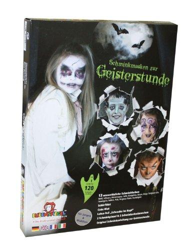 Eulenspiegel 212066 - Schminkmasken zur Geisterstunde, Schminkpalette, Kunstblut, Pinsel und Anleitung, 13 (Werwolf Kostüm Leicht)