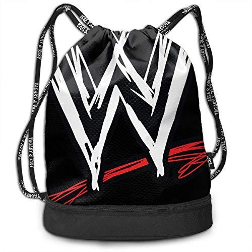 NasNew WWE Logo Print Drawstring Bags - Simple Gym Shoulder Bags (Bag Wwe Gym)