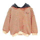 Cuteelf Mädchen Langarm gestreiften Kapuzenpullover Pullover Jungen Mädchen mit Kapuze gestreiften Sweatshirt Jacke Pullover Kleidung Mode gestreiften Trend mit Kapuze Pocket Shirt