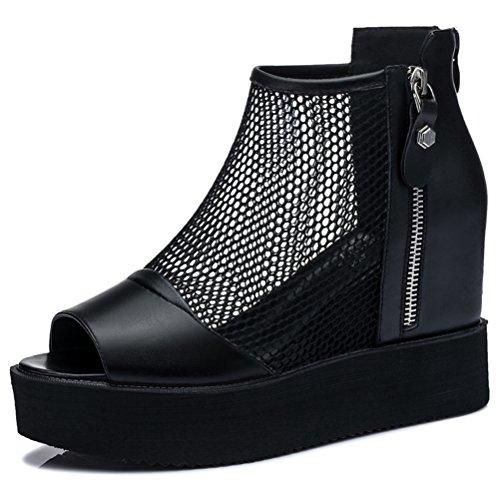 Damen Runde Zehen Flach Slip-on Halbschuhe Offene Fischkopf Zehen Dicke Boden Keilabsatz Reißverschluss Sneakers Schwarz