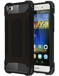 Skitic Etui Housse Coque Anti Choc pour Huawei P8 Lite, 2 en 1 Hybride Armour Case TPU + PC Incassable Back Cover Rigide Coque de Protection pour Huawei Ascend P8 Lite Smartphone - Noir
