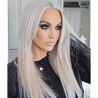 Peluca de pelo sintético resistente al calor, peluca de ceniza, color rubio gris,