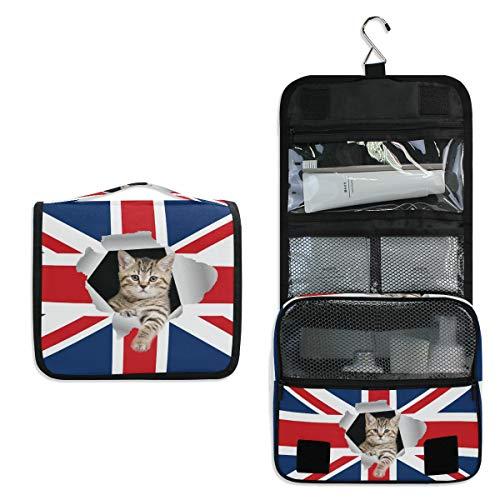 DOSHINE Kulturtasche mit britischer Flagge und süßer Tierkatze, zum Aufhängen, große Aufbewahrung, Make-up-Tasche für Frauen Mädchen Reisen Badezimmer - Britische Möbel