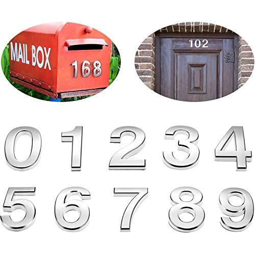20 Stücke 2 Zoll Mailbox Nummern 0-9 Adress Nummern Selbstklebende Tür Nummern Silber Reflektierende Mailbox Nummern für Haus Mailbox