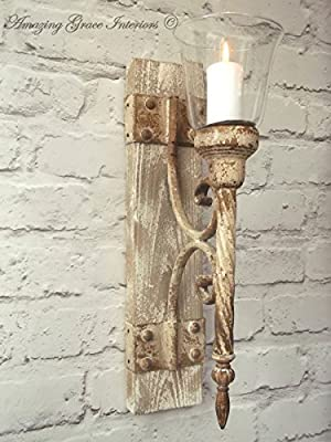 French Shabby Chic Wall Sconce Candle Holder Antique Vintage Style Wall Light from AGI