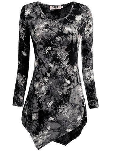 Rose Damen Henley (DJT Damen Langarmshirt Asymmetrisch T-Shirt Stretch Longshirt # D156T17 Schwarz-Rose L)