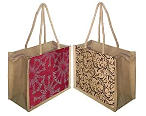 Foonty Daily Use Women Jute Lunch Bags(Combo of 2,Multicolour,5007)