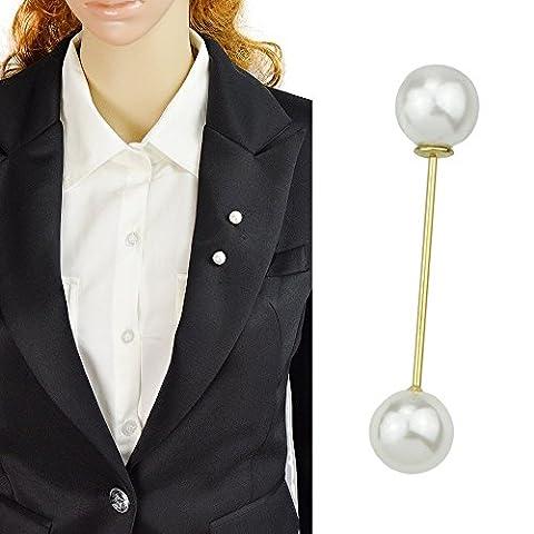 Feelontop® Neue einfache Gold überzogener Stock-Entwurf mit zwei Imitation Perlen Brosche Pin mit Schmuck Beutel