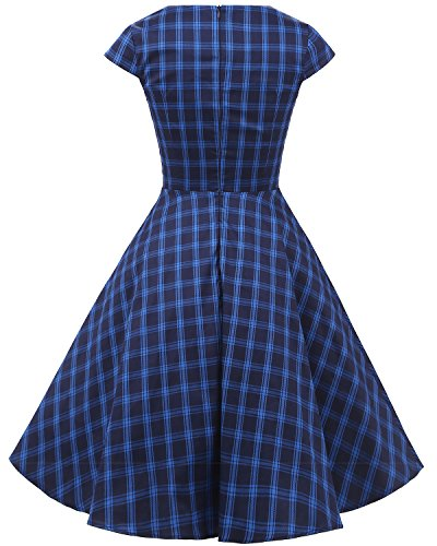 Bbonlinedress 1950er Vintage Retro Cocktailkleid Rockabilly V-Ausschnitt Faltenrock Navy Plaid S - 3
