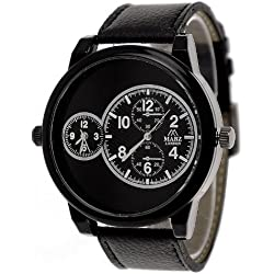 Mabz London Designer Mens Gents Big Daddy 2 Time Zone Black Strap Fashion Watch