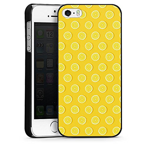 Apple iPhone 5 Housse étui coque protection Citrons Été Fruits CasDur noir