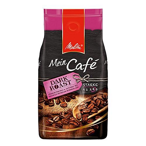 Melitta Ganze Kaffeebohnen, charaktervoll und intensiv mit Nuancen dunkler Schokolade, kräftiger Röstgrad, Stärke 4, Mein Café Dark Roast, 1000 g - 2