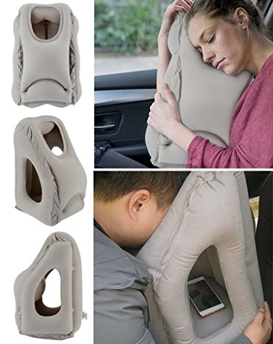 FORUNER Inflatable Air Travel Pillows Portable Office Nap Neck Pillow Head Full Body Support Airplane Cushion Soft PVC For Car Bus Train Camping Sleeping Pillow With Earplugs 3D Eye Mask