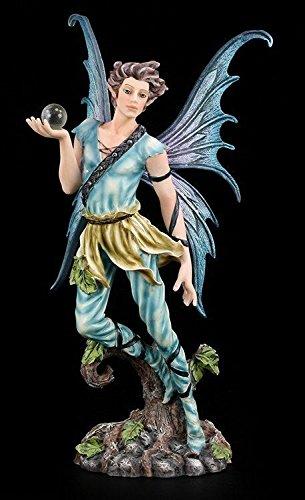 Männliche Elfen Figur mit Kugel - Junge Mann Elfenfigur Elfe Fee Fairy Deko