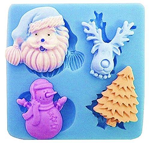 Evrylon ➣ stampo in silicone per uso alimentare con il calco di accessori natalizi - babbo natale - renna - albero di natale - pupazzo di neve