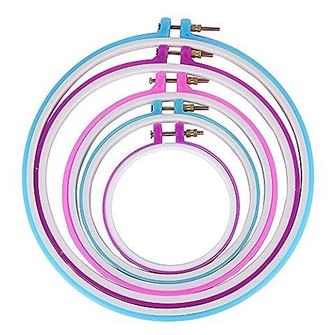 5 Stück Stickrahmen Stickerei Ring kreuzstich Nähen Kunststoff Rund für DIY Kunst, Handarbeiten Basteleien und Nähen 12,5cm/ 16cm/ 19,5cm/ 24,5cm/ 28cm (zufällige (Nähen Ringe)