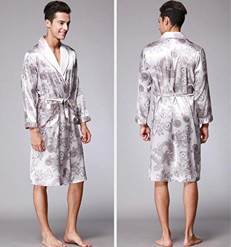 GJX Pyjama de soie de robe de chemise de nuit de manches longues du masculin longue maison de vêtements White