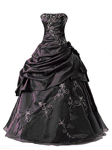 Vantexi Damen Formales Taft Abschlussball Kleid Ballkleid Quinceanera Kleider Schwarz Größe 44