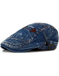 2e95909c74b Tradico Fashion Mens Washed Denim Beret Caps Vintage Cowboy Flat Sun Cap