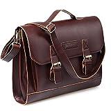 JAKAGO Vintage Leder Umhängetasche stylische Herren Damen Schultasche Arbeitstasche Aktentasche 13,3