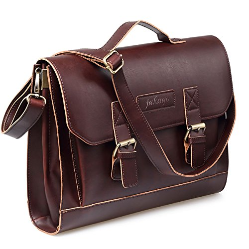 Jakago 12 13.3 13 Inch Vintage Women's Mens Leather Satchel Laptop Briefcase Messenger Shoulder Bag Brown