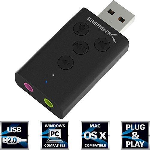 Sabrent Externe Soundkarte - Aluminium USB Externer 3D Stereo Sound Adapter für Windows und Mac. Plug & Play keine Treiber benötigt. [Schwarz] (AU-DDAB)