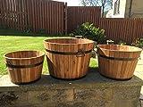 Juego de 3medio barriles de madera redondos de jardín, para macetero, jardineras y macetas
