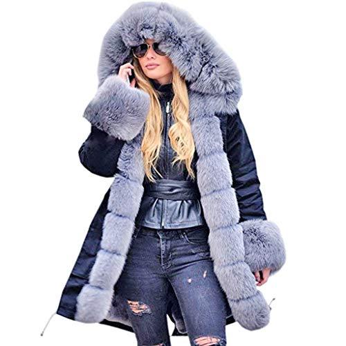 Fenverk Damen Winter Mantel Steppmantel Moonshine Warme Jacke Lang Teddyfell Winterjacke Baumwolle Parka Abnehmbare Fellkapuze S-4XL(B Grau,4XL)