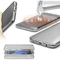 URCOVER® 360 Grad Case Cover Protettiva | Custodia Samsung Galaxy S6 Edge | Silicone TPU in Grigio | Protezione Schermo Trasparente Ultrasottile Back Antigraffio Screen Protector