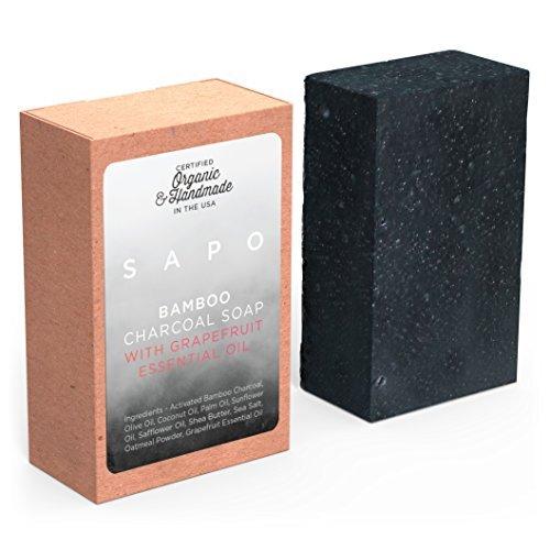 Sapo carbone di bambù sapone–all natural usa handmade & organico–aiuta con acne, psoriasi, eczema–gentler than africano nero, dead sea, castiglia sapone–ha olio di cocco, farina d' avena, burro di karitè