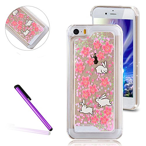 iPhone 5C Hülle,iPhone 5C Case,iPhone 5C Cove,3D Kreativ Muster Transparent Hard Case Cover Hülle Etui für iPhone 5C,EMAXELERS Cute Tier Cat Kaninchen Serie Bling Luxus Shiny Glitzer Treibsand Liquid  I Chirstmas Series 4
