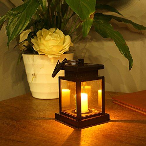 LEDMOMO Solar LED Kerze Laterne Wasserdichte Vintage Beleuchtung batteriebetriebene Hängelampe mit Clamp für Baum Pavillon Garten Hof Balkon Rasen Dekoration (kleine Fenster Grille Typ)